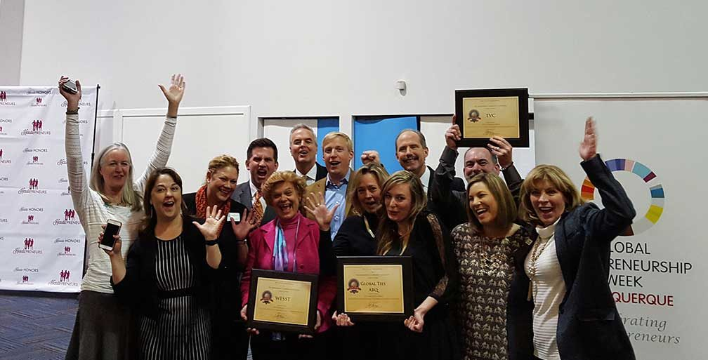 Winners of the Mayor's Prize for Entrepreneurship holding their awards