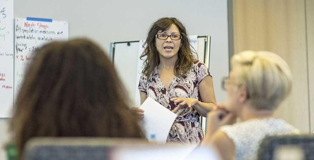Olivia Padilla-Jackson speaking to class