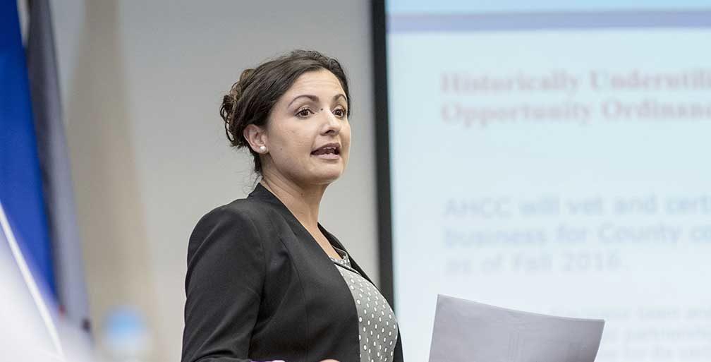 Synthia Jaramillo speaking at meeting