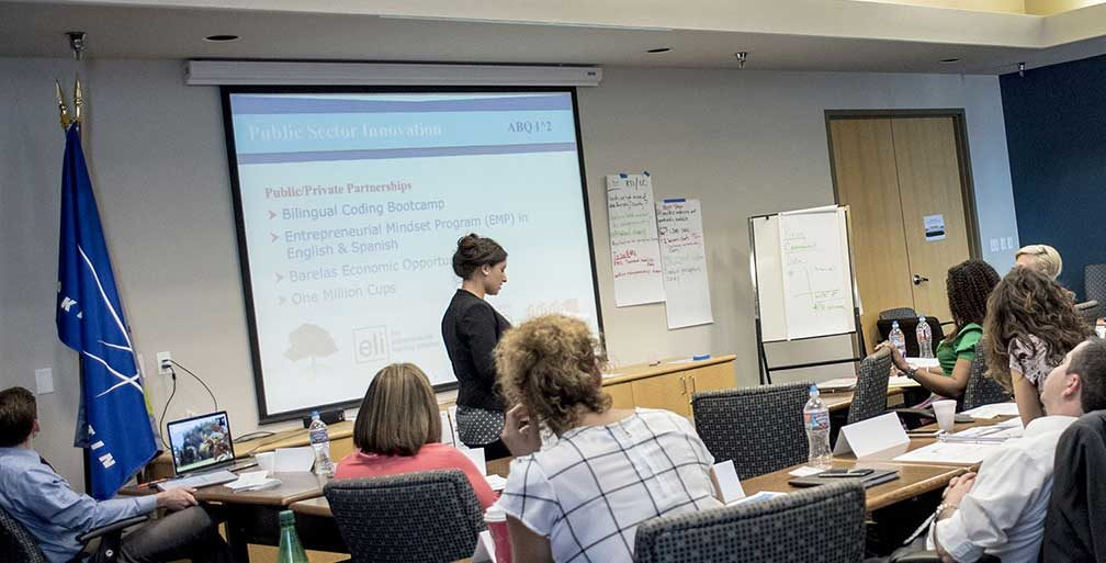Synthia Jaramillo teaching a class